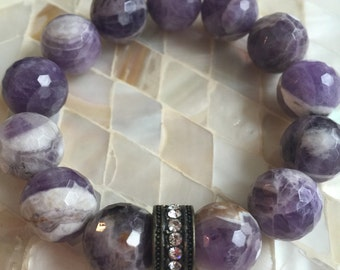 15mm Faceted Charoite and crystal stretch bracelet