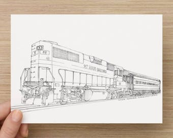 Ink Sketch of Mt. Hood Railroad in Mount Hood, Oregon - Drawing, Art, Train, Locomotive, Engine, Pen and Ink, 5x7, 8x10, Print