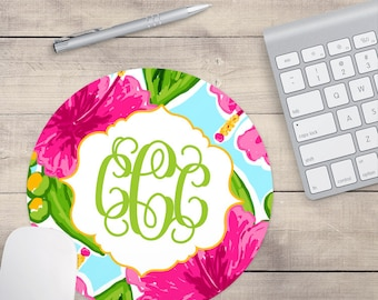 Hawaiian Lilly Mouse Pad, Tropical Mouse Pad, Hibiscus Mouse Pad, Custom Mouse Pad, Monogrammed Mouse Pad (0030)