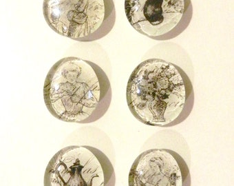 Glass Bubble Magnets - Set of Six, Vintage Style Paper