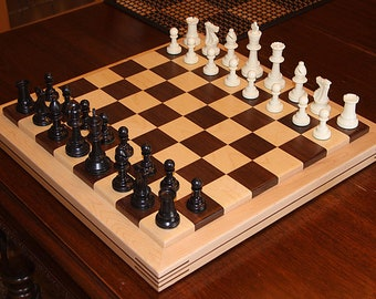 Handmade chess Board Black Walnut and Maple  (Board only No pieces)