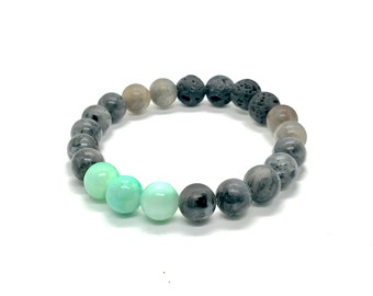 Aroma Diffusing Labradorite,   Quartzite, and Volcanic Lava Bracelet - Add a drop of any skin-safe essential oil to diffuse!