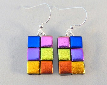 Multi Colored Dichroic Fused Glass Dangle Earrings, Fused Glass, Fused Glass Earrings, Glass Earrings, Dichroic Earrings, Dangle, Colorful