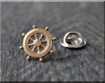 Brass Ships Wheel Tie Tac, Lapel Pin, Nautical Brooch, Gift for Him, Gift Under 10 Dollars, Boat Tie Tack, Sailor Accessory, Unisex Pin