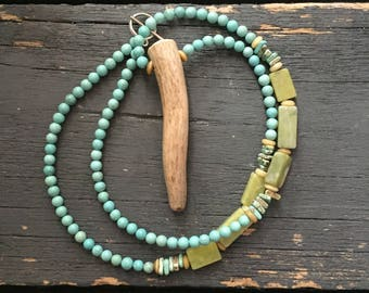 Earth Tone Blue and Green Deer Antler Tine Necklace