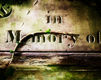 Old Gravestone Print - In Memory of... Fine Art Photograph - Belfast Print - Vintage Carving Photography - Northern Ireland
