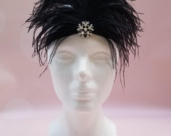 READY TO SHIP: Stretchy Feather Headband - Black - Bird Costume Accessory - Regal Raven - Fits toddler to adult