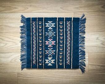 Wool Door Mat Natural Kilim Rug - Berber Tribal Design 42 x 42cm Wool - Blue