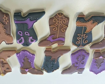Cowboy  boots, cowgirl boot cookies, gender reveal cookies, boot cookies, cowboy party, wedding cookies, cowgirl party, sugar cookies