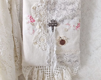 Shabby Grey Damask and Vintage Lace Collage Shoulder Tote Bag