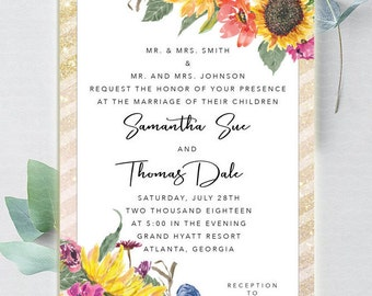 Watercolor Sunflower Wedding Invitation