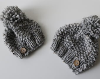 Knitted Knit Baby Beanie Hat with Coconut Button Embellishment and Pom Pom. Handmade in Chunky, Wool Yarn.