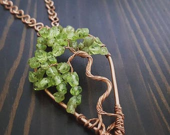 Tree of life in copper and peridot