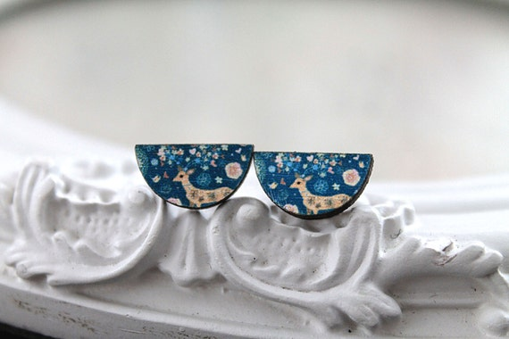 Deer half circle wooden earrings post stud kawaii sweet lolita blue fawn teal