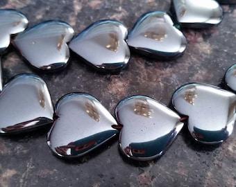 1 PiecevLarge Hematite  20mm Heart Bead
