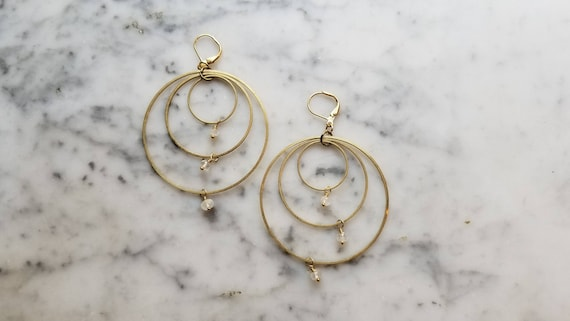 Moonstone on brass connected circles rings hoops - 50mm