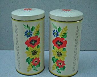 Vintage kitchen canisters , vintage storage canisters ,Vintage kitchen tins ,vintage  tin canisters.