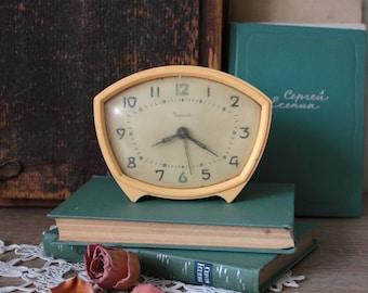 Vintage Alarm Clock - Soviet 1960s Vintage Retro Beige Alarm Clock - Vintage Table Clock - Vintage Home Interior Decor