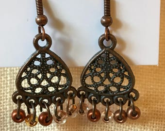 Antique Copper Chandelier Earrings