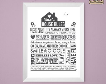 Oma's (grandparents) House Rules printable poster