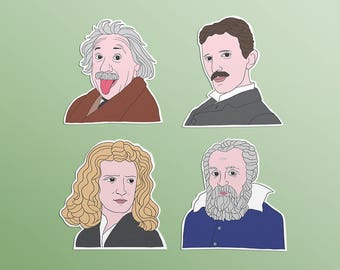 Famous Scientists Sticker Set - 4 Waterproof Vinyl Stickers - Albert Einstein, Nikola Tesla, Isaac Newton, Galileo Galilei, genius