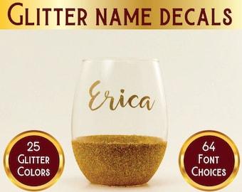 Glitter Name Decal / Glitter Vinyl Decal / Glitter Decal / Yeti Glitter Decal / Tumbler Name Decal / Personalized Glitter Decal / Vinyl