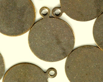 50 Pcs Antique Brass Tone Brass 13 mm Circle tag Charms ,Findings 90AB-30