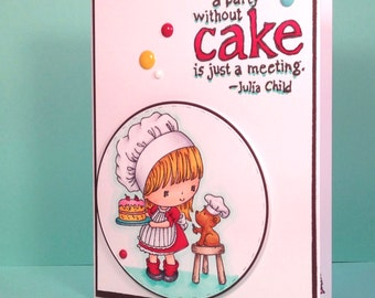 Cake Birthday Card featuring Hand Stamped and Colored Image of a Girl and Her Dog