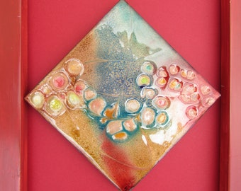 Enamel Picture, Reflections in a puddle. Multi-colour design enamel on copper