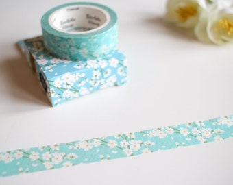 Floral Washi Tape, Sakura Washi Tape, Flower Washi Tape, Blue Washi (FL-101)