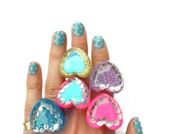 RESIN HEART RING - choose your color