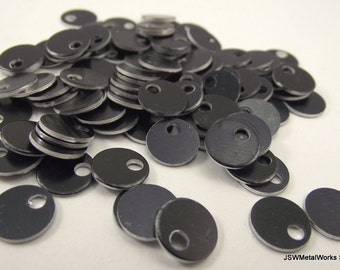 """100 0.35 Inch Black Anodized Aluminum Tags, Small Blank Discs, 0.35"""""""