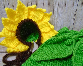 Newborn Sunflower Outfit, Baby Sunflower, Sunflower Crochet, Sunflower Hat, Newborn Photograpy Prop, Newborn Cocoon, Baby Coming Home Outfit