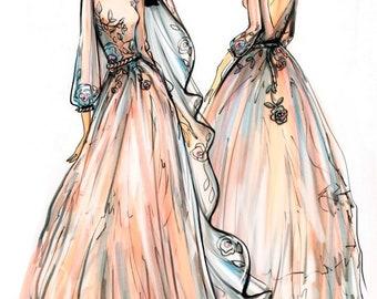 Sketch for custom made wedding dress