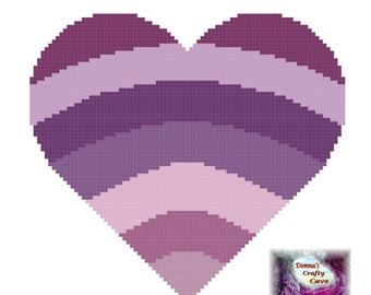 Purple Heart (46) Cross Stitch Chart / Pattern love pdf instant download printable
