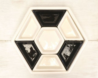 60s Snack Tray Ceramic Vintage Octagon Chip and Dip Dish Mid Century Mod Relish Tray Platter Black White 8 Piece Set