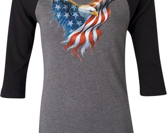 USA Eagle Flag Ladies Raglan Tee T-Shirt WS-12260-B2000