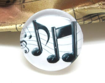 2 cabochons 10 mm glass music 1 white background - 10 mm
