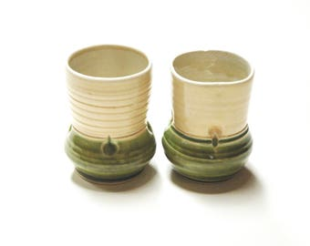 Yunomi,His and Her cups,Wedding Pottery,Couple gift,Canadian pottery,ceramic tumblers,clay tea cups,set of clay cups, wheel thrown