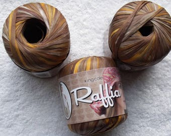 3 x 50gm King Cole Raffia in colour 1462 Reeds.