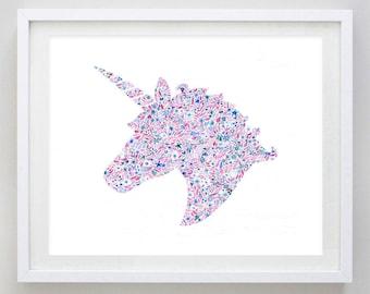 Unicorn Floral Watercolor Art Print - Delta Phi Epsilon