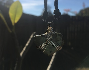 Silver Wire Wrapped Green Stone Necklace