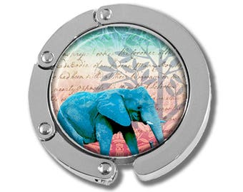 Foldable Bag Purse Hook - Sacred Blue Elephant FHK105