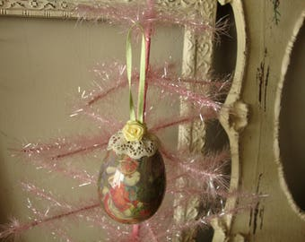 Victorian style egg ornament decoupage Easter bunny ornament vintage style Spring home decor