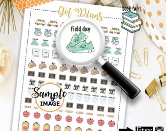 School Planner Accessories, School Stickers, Printable Stickers, Erin Condren Sticker, Scrapbook Stickers