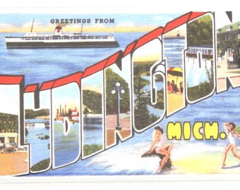 Greetings from Ludington Michigan Fridge Magnet