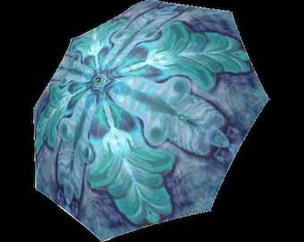 Hamsa Artistic umbrella- Large and automatic foldable umbrella- Rain and sun- customizable-Handpainted design