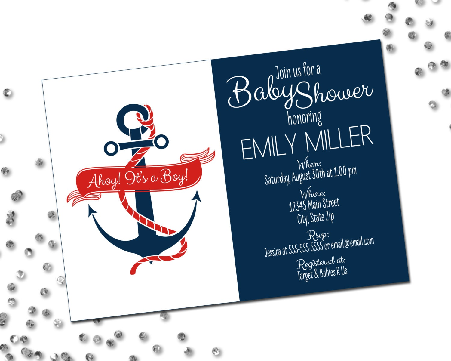 Nautical baby shower invitation ahoy its a boy anchor zoom filmwisefo