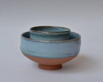 set duo bowl stoneware chutney dips handmade wheelthrown pottery ceramic dinnerware dishes rice sauce #contreraspottery #parispottery