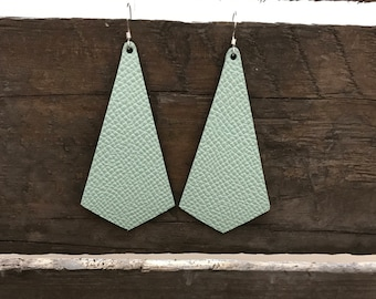 Leather earrings, modern pendant earrings, Mint leather earrings